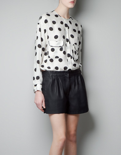 Zara Polka Dot Printed Shirt Blouse