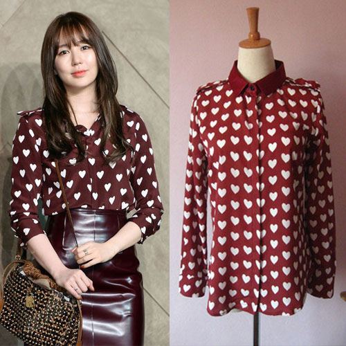 Replica Satin Heart-Print Shirt Similar to Victoria Beckham Burberry Shirt