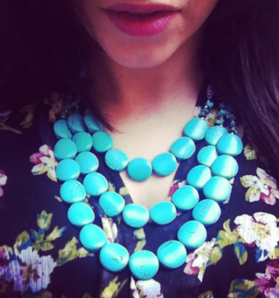 Statement Necklace Turquoise 3 Row