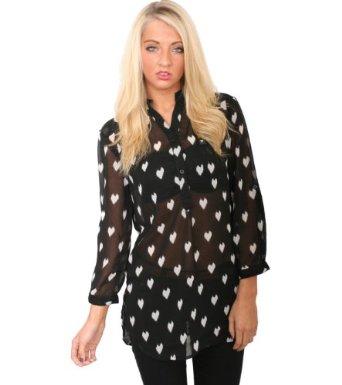 Pilot Chloe Heart Print blouse shirt victoria beckham burberry style
