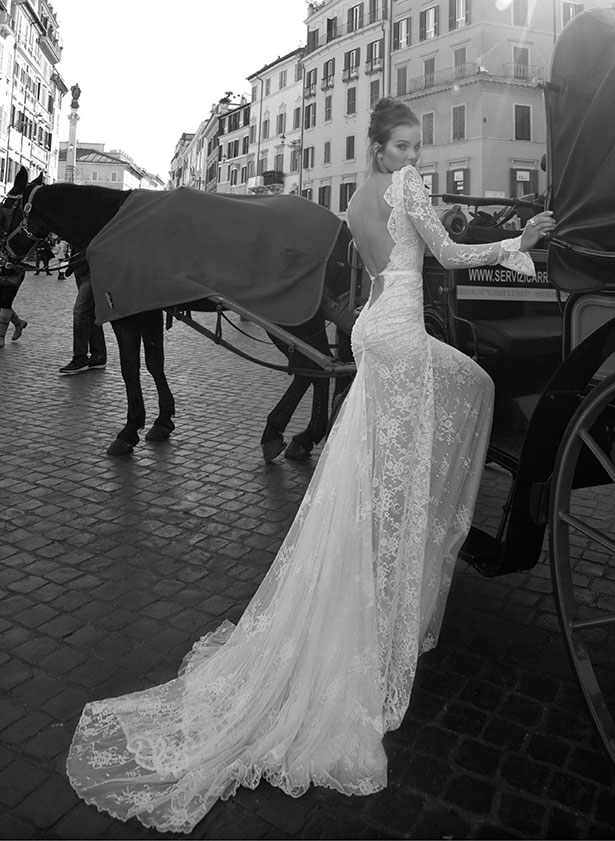Inbal Dror Lace Sleeve Wedding Dress