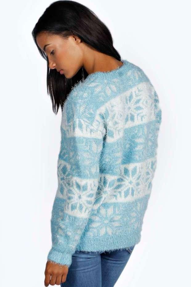 Boohoo £20 - Dixon Fluffy Snowflake Blue Jumper