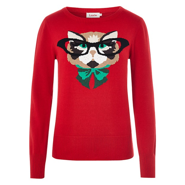 Louche at John Lewis £45 - Red Cat Knit Jumper