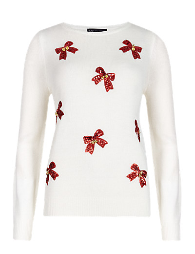 M&S £25 - Sequin Embellished Bow with Bell Jumper