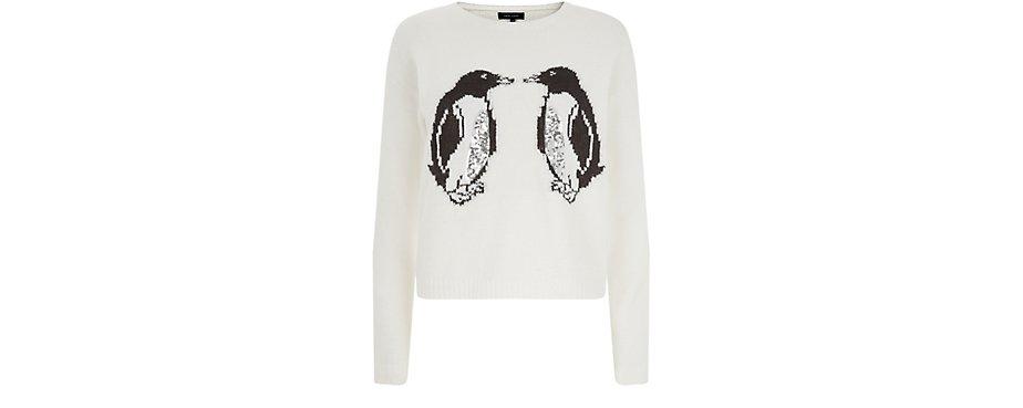 New Look £24.99 -  Cream Sequin Panel Penguin Print Christmas Jumper