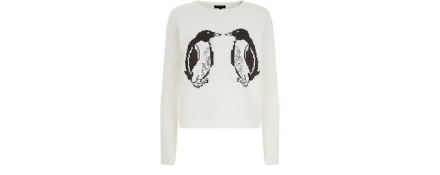 New Look £24.99 -  Cream Sequin Panel Penguin Print Christmas Jumper