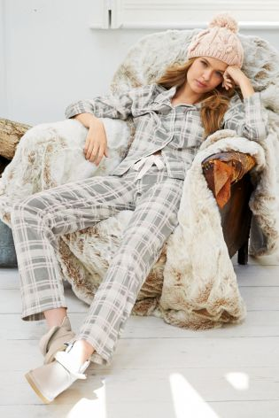 Next Button Through Grey Check Pyjamas £22