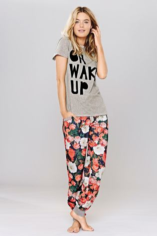 Next Slogan Grey T-shirt and Floral Cuff Pyjamas £28