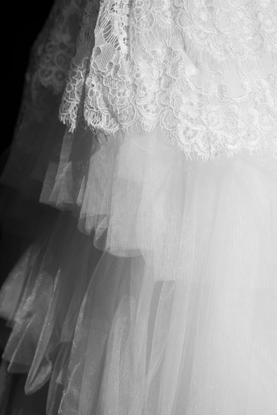 Wedding Stress Tulle Chantilly Lace Layers
