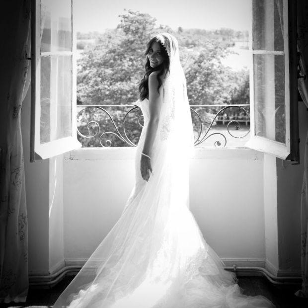 Wedding dress in the style of Inbal Dror Chantilly Mantilla Cathedral Veil Bridal
