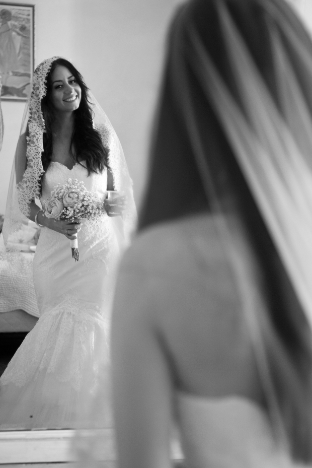 Wedding Bride Photography Mirror Black and White