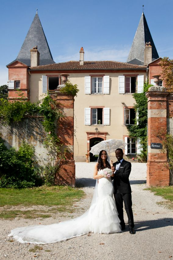 Wedding Dress Chateau South of France in the style of Inbal Dror Lace Parasol Prop Wedding Photos Tuxedo Groom