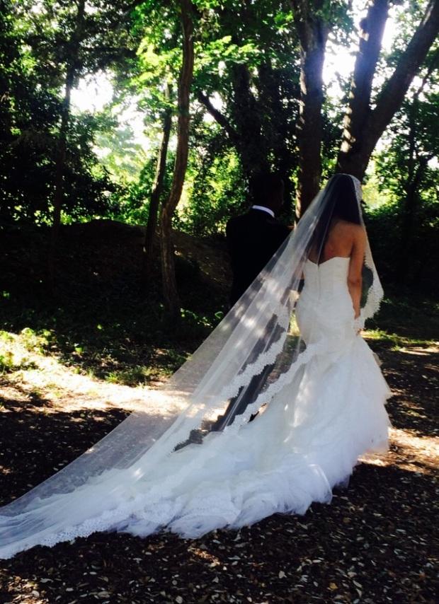 Inbal Dror inspired wedding dress UK mantilla cathedral length wedding veil chantilly lace trim edging