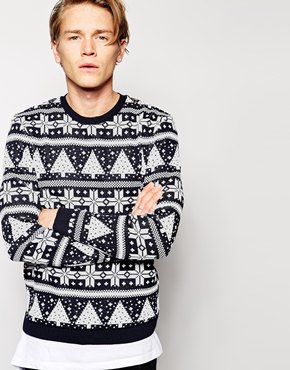 ASOS £32 - Mens Christmas Jumper with Trees and Snowflakes in Metallic Yarn