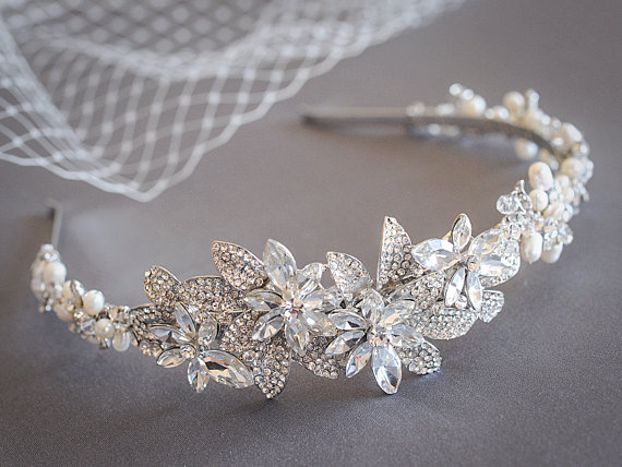 ROESIA £82.11, freshwater pearl cluste, art deco flower and leaf bridal headband.