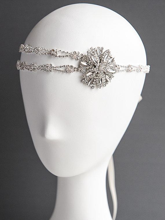 CLODIA £67.36, 1920's tyle ivory silver ribbon bridal halo, headband.