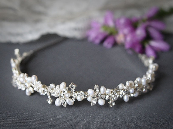 ELVINA £59.02. Freshwater pearl and rhinestone bridal headband