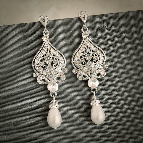 GRACE £43.62, vintage-inspired Swarovski pearl bridal earrings