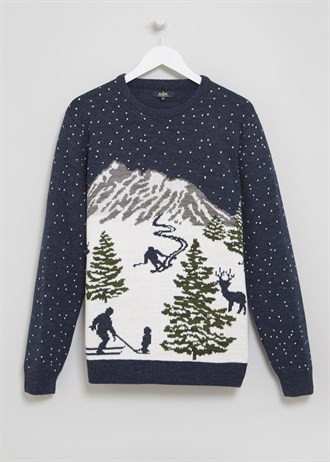 Matalan £20 - Navy Ski Scene Christmas Jumper