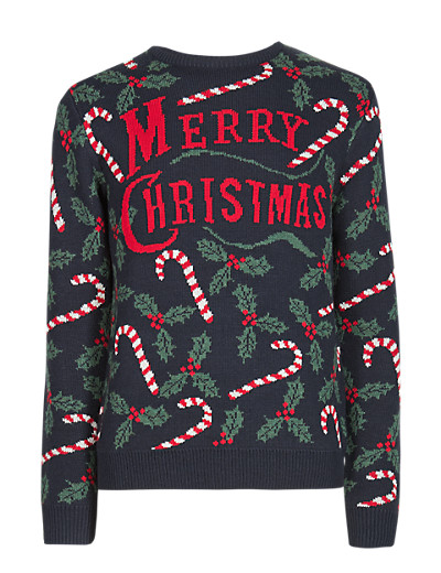 M&S £25 - Mens Candy Cane Crew Merry Christmas Jumper