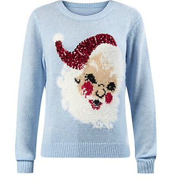 New Look £24.99 - Pale Blue Sequin Santa Christmas Jumper