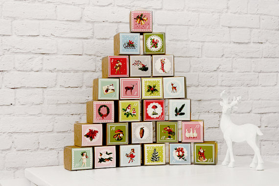 Nostalgic Vintage Style Advent Calendar Set of 25 Paper Boxes easy diy for chocolates sweets