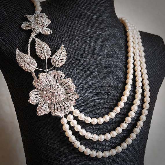 REGGI £91.10, vintage style Swarovski pearl and crystal wedding statement necklace