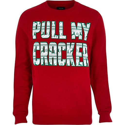 River Island £28 - Red Pull My Cracker Print Jumper