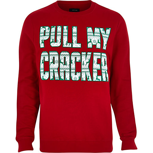 River Island £28 - Red Pull My Cracker Print Jumper