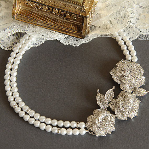 ROSELLE £78.27, vintage-inspired double strange silver art deco pearl bridal statement necklace.