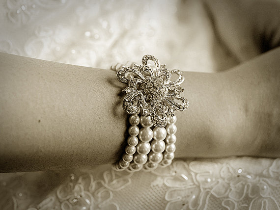 VERONICA £60.94, vintage style swarovski pearl bracelet cuff with an old hollywood filigree flower.