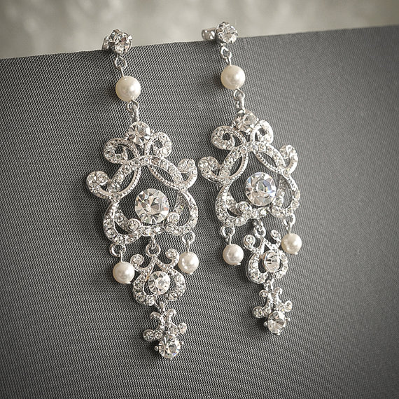 HERA £52.60, vintage style swarovski pearl and crystal, silver filigree chandelier bridal earrings